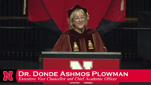 Still frame of Donde Plowman delivering the Summer 2018 Commencement Address
